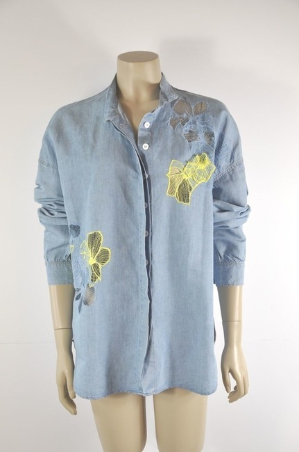 Vanessa Bruno Embelished Button Down Shirt Denim Blue Image 2