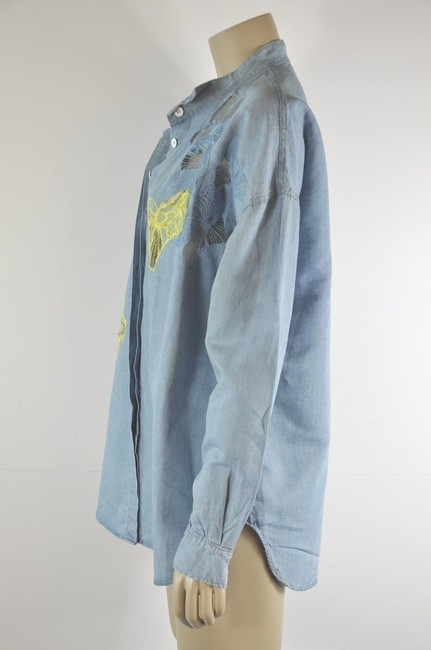 Vanessa Bruno Embelished Button Down Shirt Denim Blue Image 3