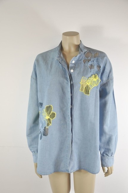 Vanessa Bruno Embelished Button Down Shirt Denim Blue Image 6