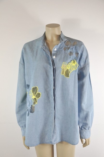 Vanessa Bruno Embelished Button Down Shirt Denim Blue Image 7
