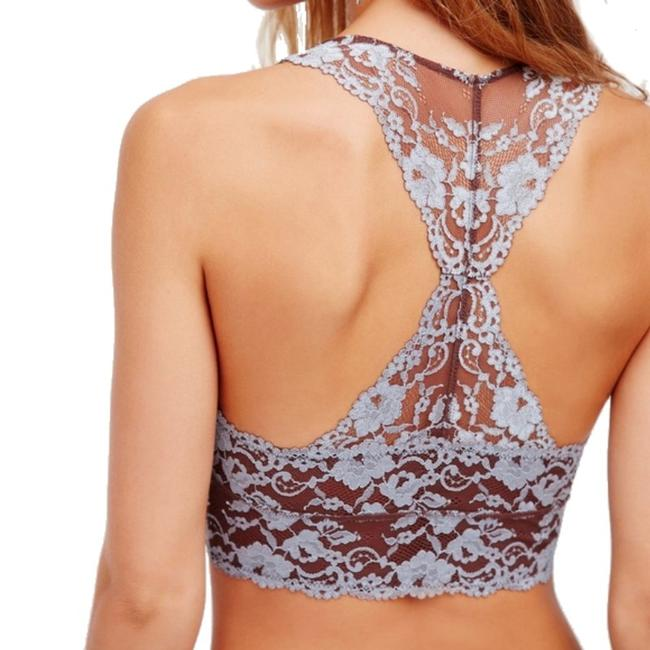 Free People Racerback Styling No Padding No Underwire Sheer Lace Floral Constrast Mocha Halter Top Image 2