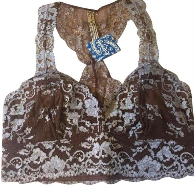 Free People Racerback Styling No Padding No Underwire Sheer Lace Floral Constrast Mocha Halter Top Image 4