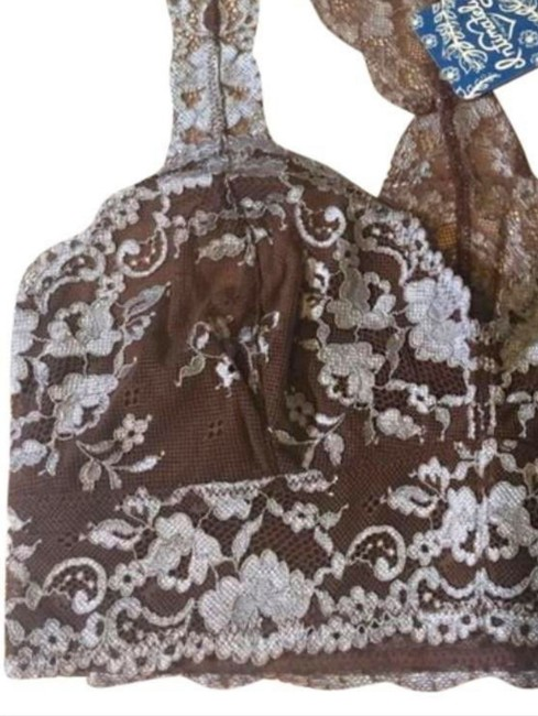 Free People Racerback Styling No Padding No Underwire Sheer Lace Floral Constrast Mocha Halter Top Image 5