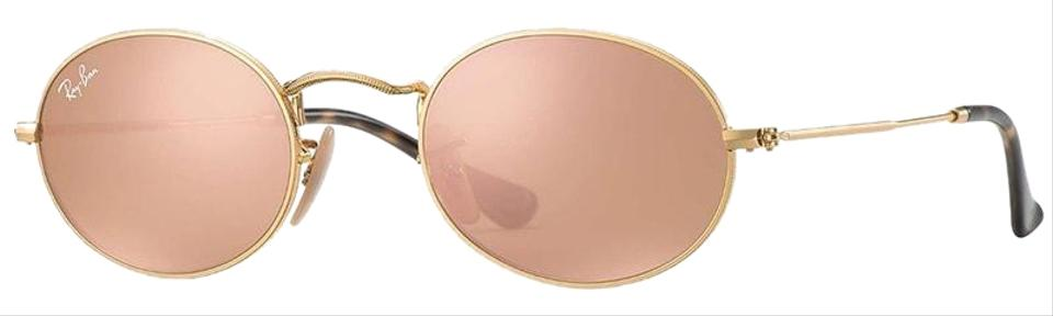 d1747cb5d71a2f Ray-Ban Oval Flat Lenses Shiny Gold Frame   Copper Pink Mirrored ...