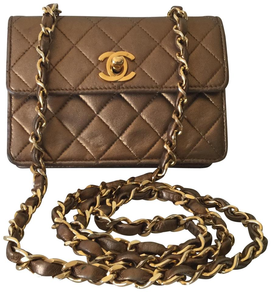 72fde888c0f435 Chanel Classic Flap Rare Vintage Extra Mini Gold Lambskin Leather ...