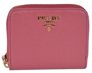 Prada New Prada 1MM268 2EZZ Pink Saffiano Leather Zip Around Coin Purse