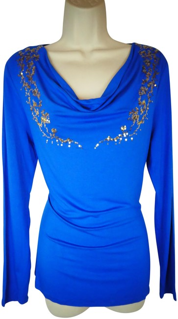 Preload https://img-static.tradesy.com/item/24443956/boston-proper-blue-s-gold-sequins-blouse-size-6-s-0-1-650-650.jpg