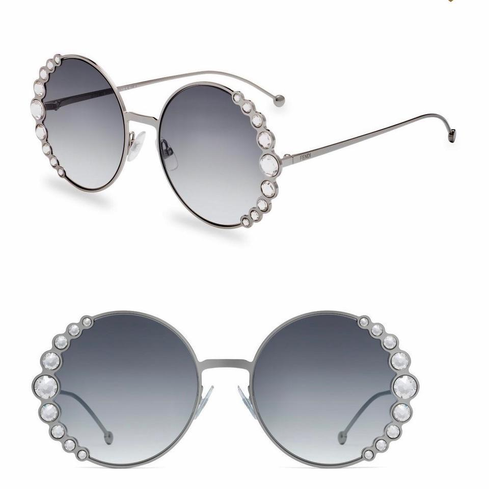 df807294a0 Fendi Fendi 0324 S FF0324 S Ribbons and Crystals Oversized Round Sunglasses  Image 2. 123
