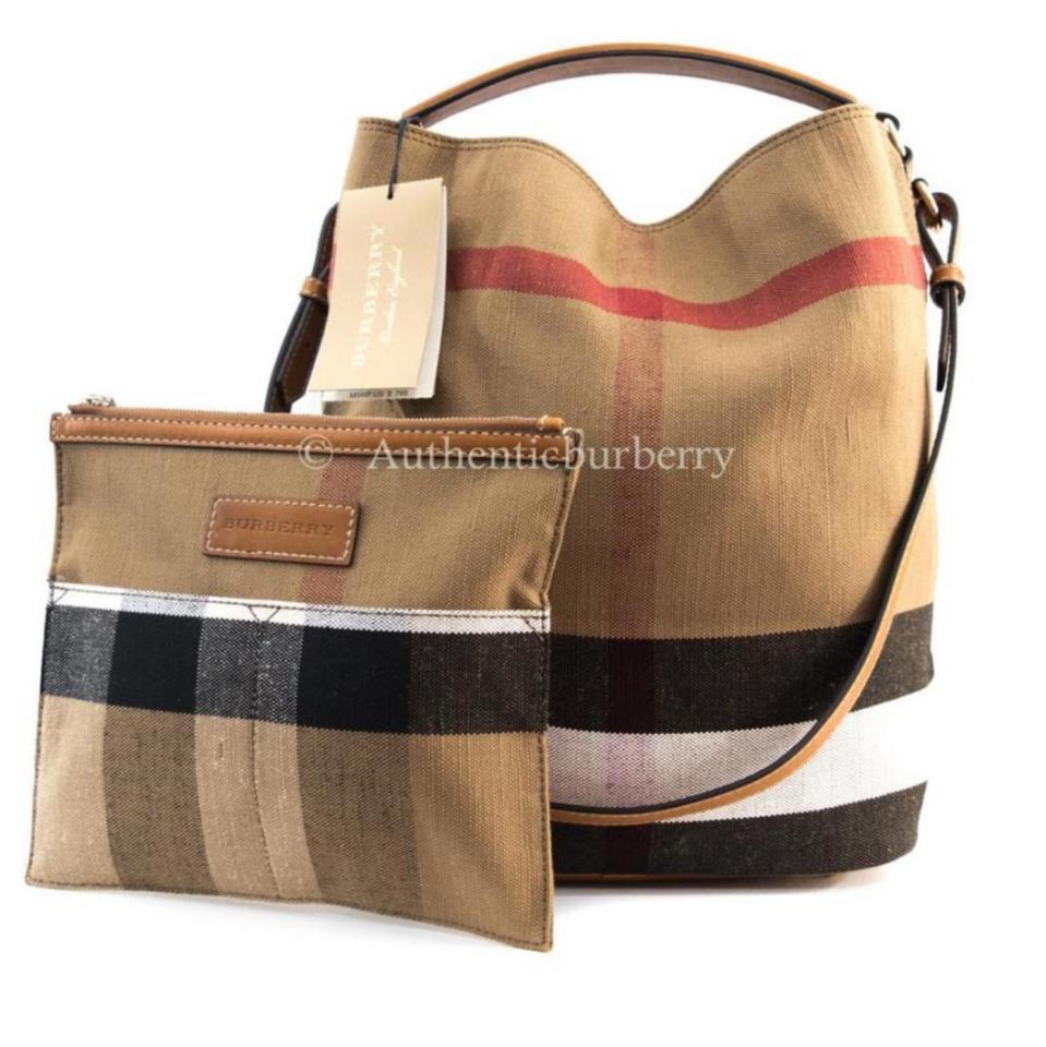 73ccece138e9 Burberry The Ashby Medium Canvas Check Saddle Brown Tote - Tradesy