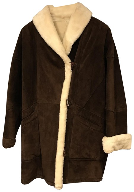 Item - Brown/Ivory Faux Shearling Suede Toggle Coat Jacket Size 10 (M)