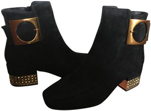 Jeffrey Campbell Suede Ankle Blinged Heel Copper Buckle Black Boots