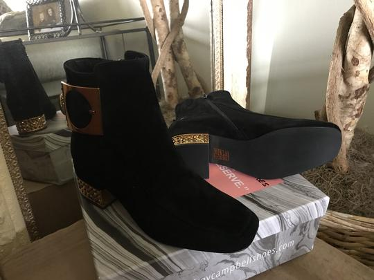 Jeffrey Campbell Suede Ankle Blinged Heel Copper Buckle Black Boots Image 1