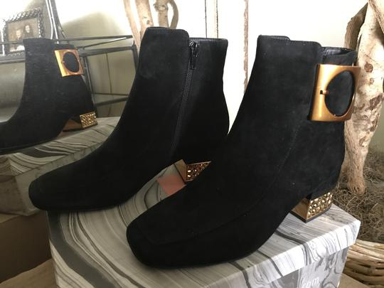 Jeffrey Campbell Suede Ankle Blinged Heel Copper Buckle Black Boots Image 4