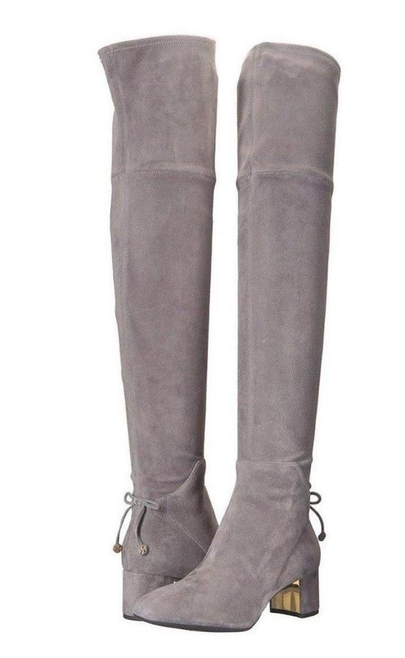 55b1f12140e9 Tory Burch Gray New Over The Knee Suede Leather Tall Winter Box  Boots Booties