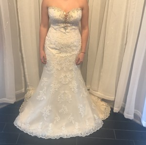 Stella York Ivory Lace Overlay Over Gold Lining and 6119dmzp Formal Wedding Dress Size 8 (M)