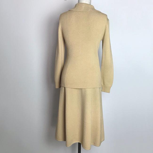 St. John St. John Knits Skirt Suit Sz M Beige Long Sleeve Gold Button Up Image 3
