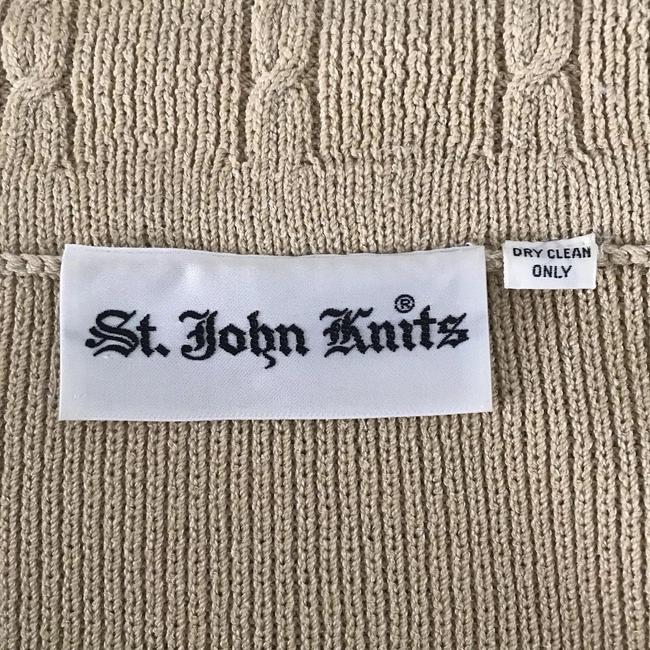 St. John St. John Knits Skirt Suit Sz M Beige Long Sleeve Gold Button Up Image 5