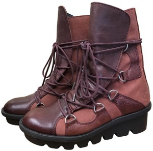John Fluevog Lace Up Leather Rubber Heel Brown Boots