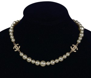 Chanel New Graduated Pearl Choker Necklace with Gold CC Crystal Rhinestones