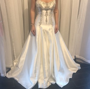 Sottero and Midgley Ivory with Pewter Mikado Vanessa Formal Wedding Dress Size 6 (S)