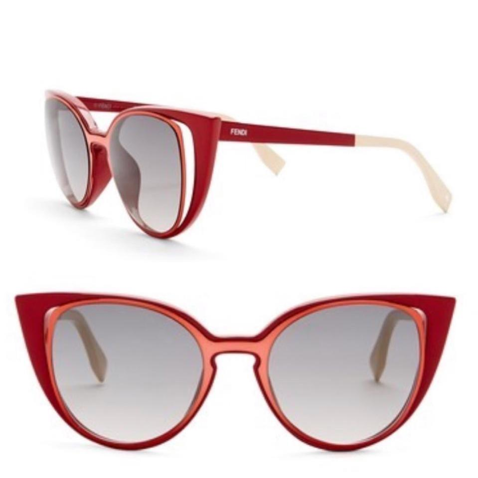 c12903fe37 Fendi Red Orange Cat Eye Cut Out Ff0136 S Sunglasses - Tradesy