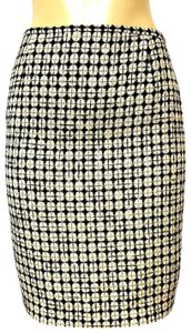 Escada Pencil Wool Geometric Mini Skirt black