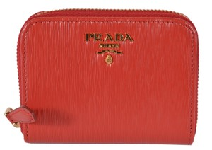 Prada New Prada 1MM268 2EZZ Lacca Red Saffiano Leather Zip Around Coin Purse