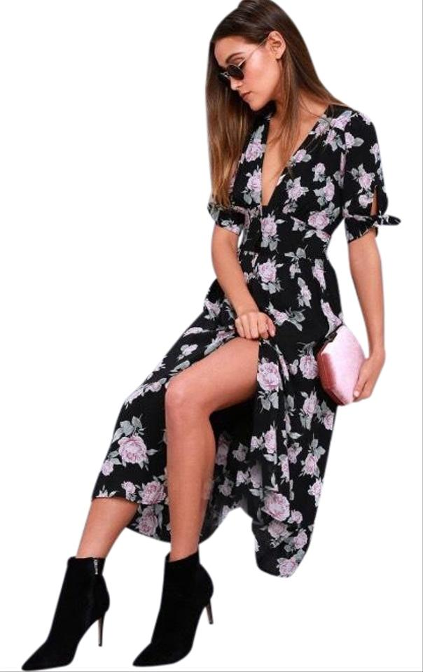 5c2049c12bcc Free People Black Floral Love Of My Life Midi Mid-length Casual Maxi ...