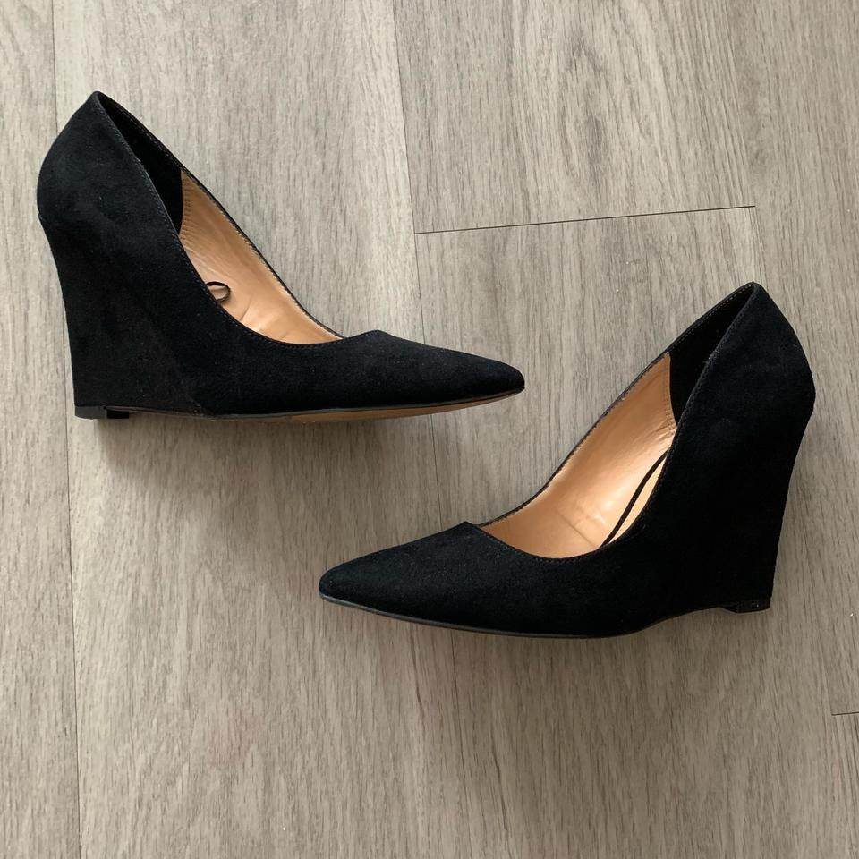 9076efe0890 Express Black Pointy Toe Faux Suede Wedges Pumps Size US 7 Regular ...