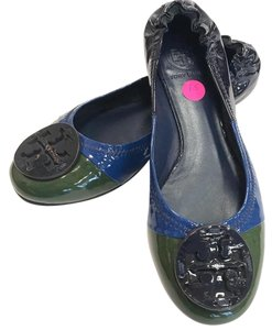 Tory Burch Color-blocking Classic Casual Patent Leather Multi Flats