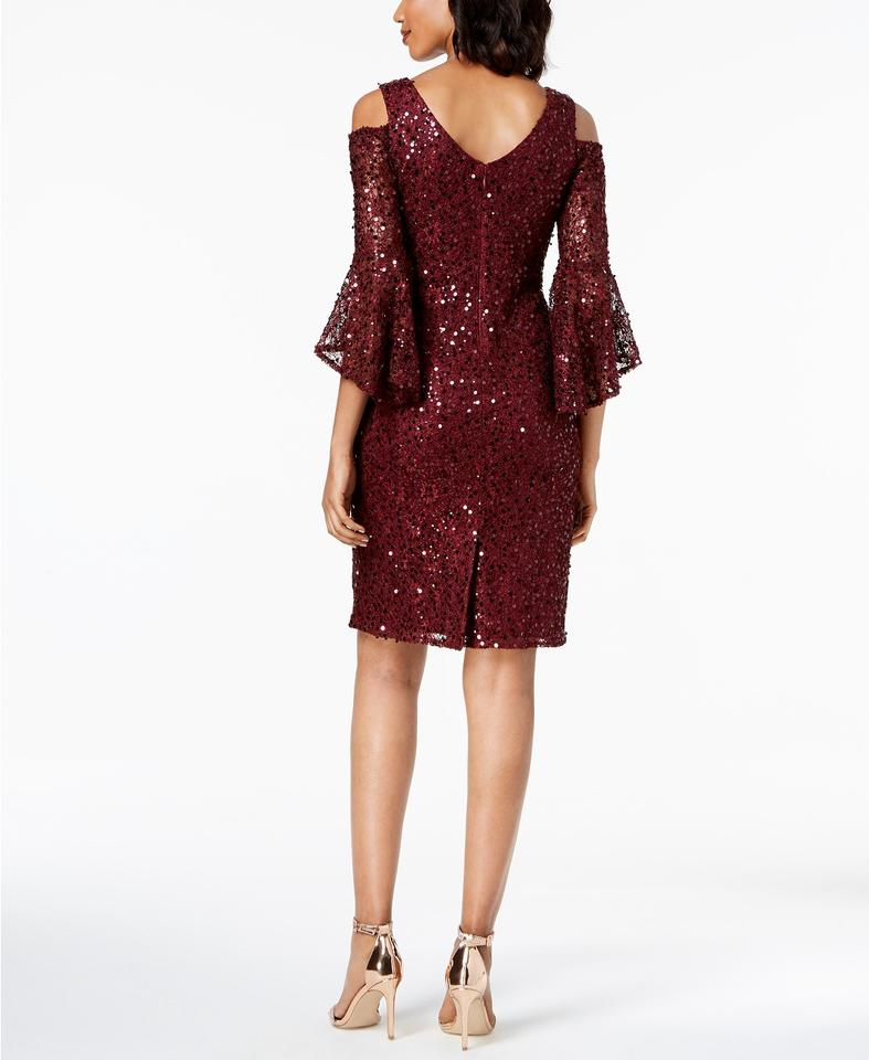5e3a84b6c90 Night Way Collections Merlot Sequined Lace Bell-sleeve Mid-length ...