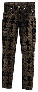 7 For All Mankind Velveteen Skinny Pants Black and gold