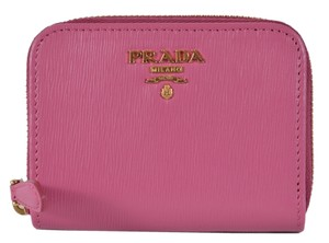 Prada New Prada 1MM268 2EZZ Fuxia Saffiano Leather Zip Around Coin Purse
