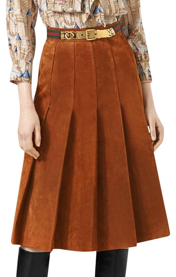 183d5acf2 Gucci Brown Pleated Suede with Web Detail Skirt Size 8 (M, 29, 30 ...