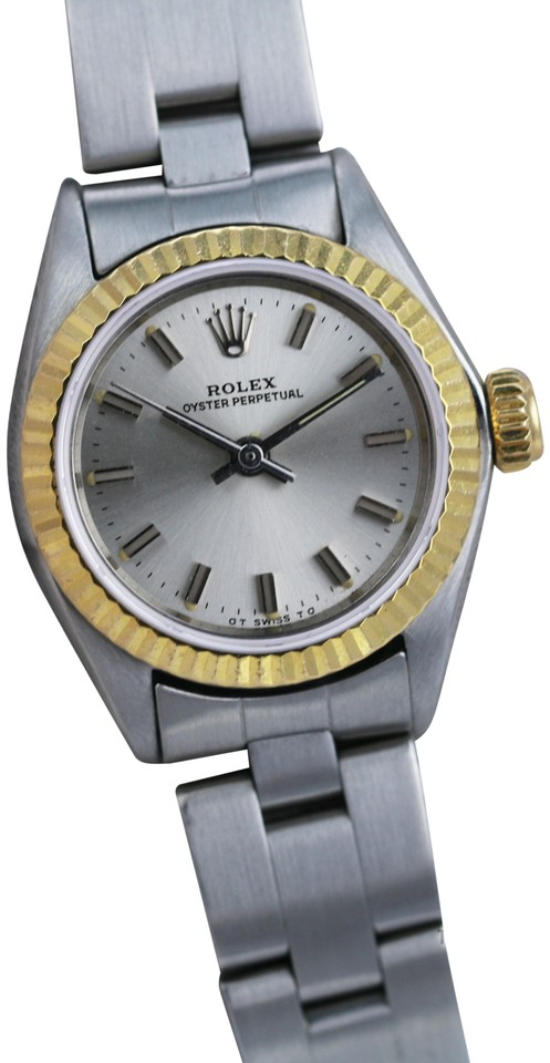 Rolex Silver Oyster Perpetual 6718 Steel Dial 26mm Watch