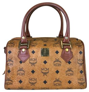 MCM Cognac Visetos Monogram Satchel in Brown