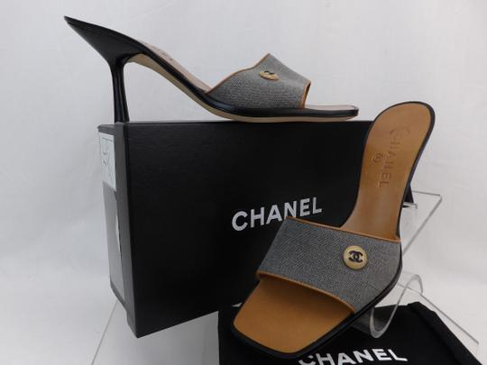 Chanel Button Kitten Gray Mules Image 1