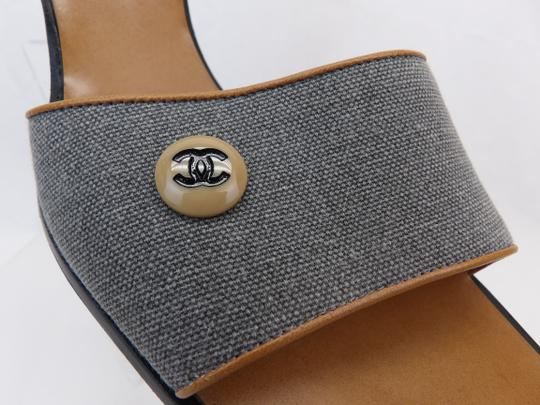 Chanel Button Kitten Gray Mules Image 3