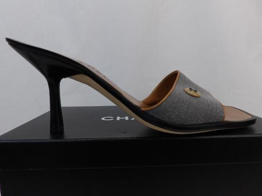 Chanel Button Kitten Gray Mules Image 4