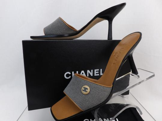 Chanel Button Kitten Gray Mules Image 6