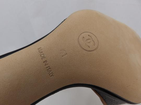 Chanel Button Kitten Gray Mules Image 9