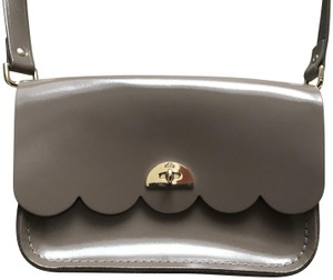 The Cambridge Satchel Company Leather Scalloped Taupe Tan Greige Clutch Cross Body Bag