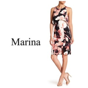 Marina Cut Out Pop Over Floral Evening Sleeveless Dress