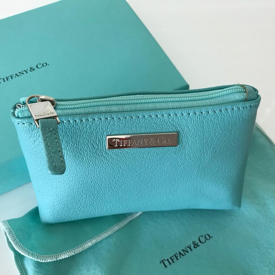 8a666d19e13 Tiffany Co Blue Leather Toiletry Makeup Case Pouch Cosmetic Bag