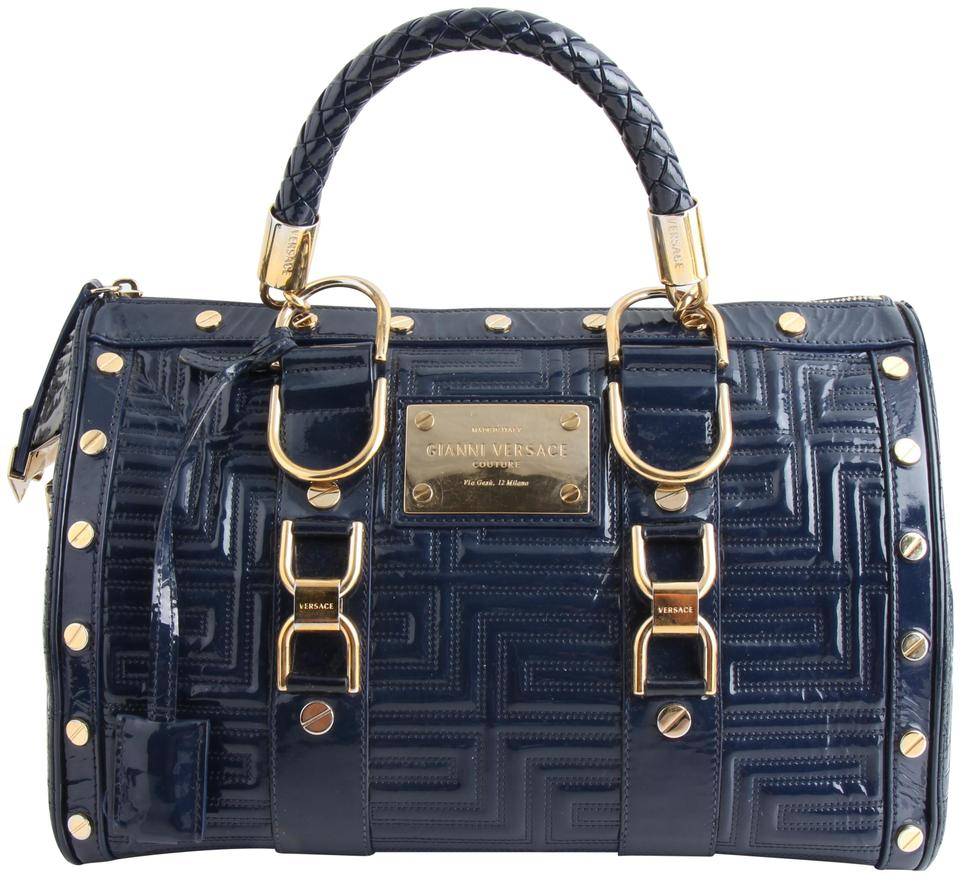 34998244 Versace Gianni Couture Greca Quilt Doctor Blue Patent Leather Satchel 41%  off retail