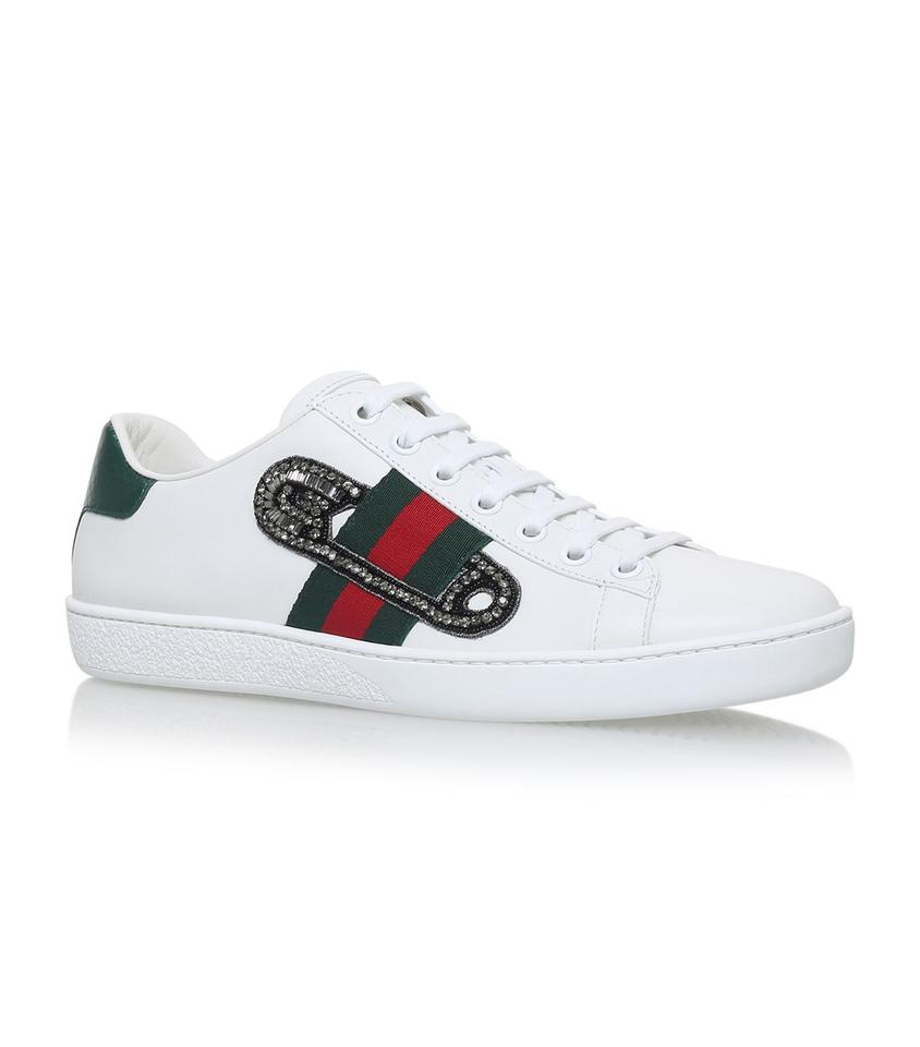 bfc49dc0c4a Gucci Ace Watersnake-trimmed Embellished Leather Sneakers Size EU ...