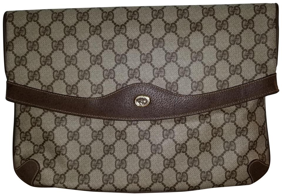 8c21882b854 Gucci Gg Supreme Large Pouch Brown Leather and Monogram Canvas ...