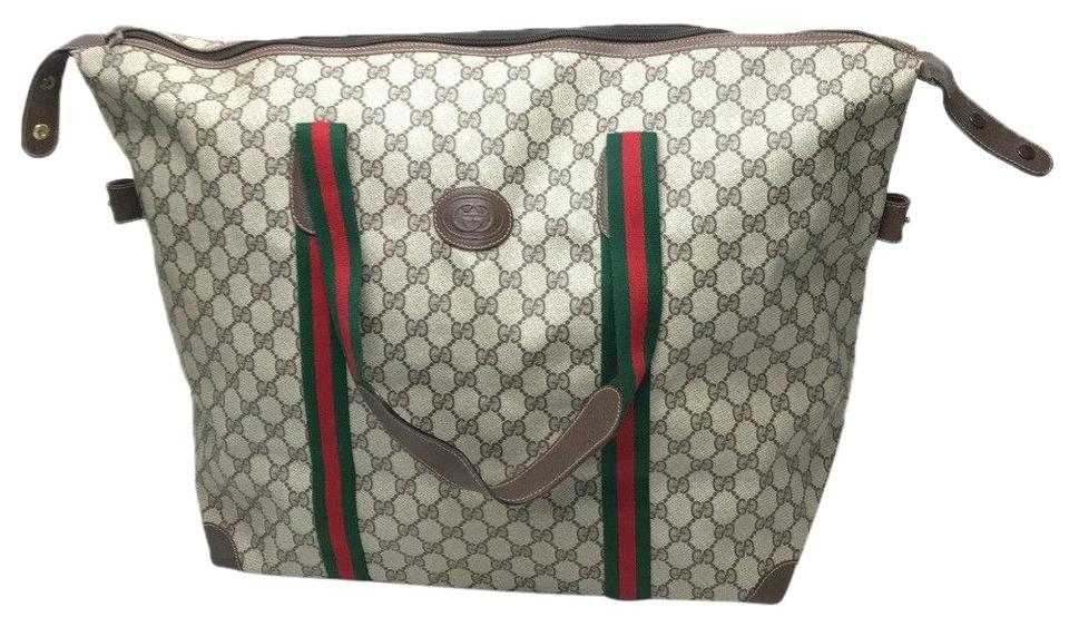 a2ebd0a0536e3 Gucci Sherry Duffel Supreme Gg with Red/Green Stripe Handles Beige Leather  and Monogram Canvas Tote