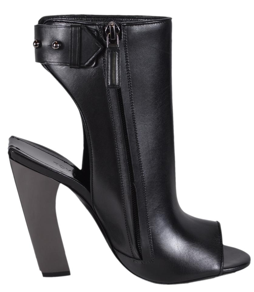 9f10a60d5ead Tom Ford Black New Women s W2078r Leather Zip Up Ankle Boots Booties ...