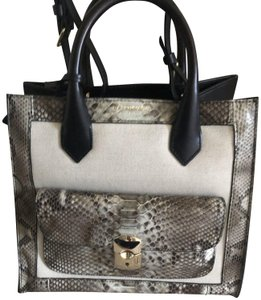 Balenciaga Padlock Mini Afternoon Tote in Black and canvas and snakeskin